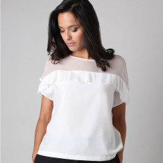 Nazilli Mix Silk Ruffle Top