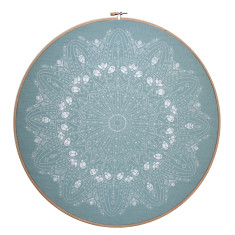 Screen printed Doily framed in embroidery hoop (various colours)