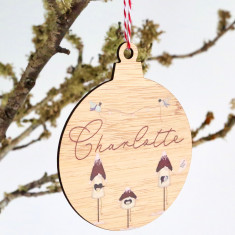 Personalised Christmas Tree bauble shaped ornament - Birdhouses