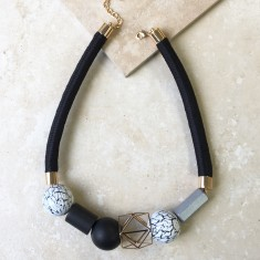 Geometric Necklace In Black and White