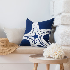 Nantucket Cushion Cover with Starfish Applique