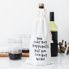 You can't buy happiness canvas wine bag