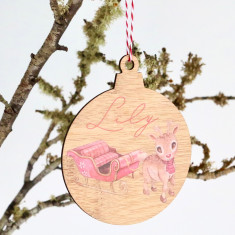 Reindeer Sleigh - Personalised Custom name Christmas Wooden Christmas tree decoration