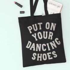 Dancing Shoes Glitter Tote Bag