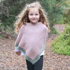 Little chicks poncho in pale pink with grey trim