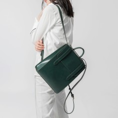 Pattern leather weekender backpack travel bag in green