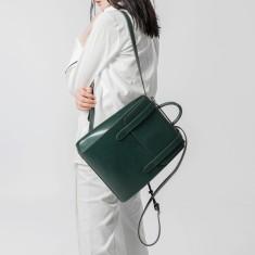 Pattern leather weekender backpack travel bag in green