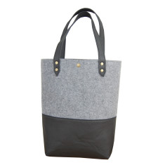 Felt & faux leather drop 'n' go bag