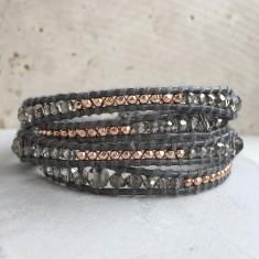 Crystal and Metallic Grey Leather Wrap Multi Bracelet