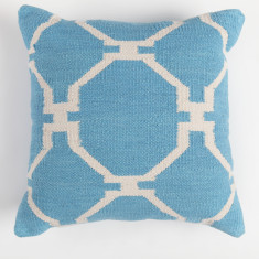 Symmetry hand made cotton cushion cover in sky blue