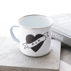Mum Love Heart Enamel Mug