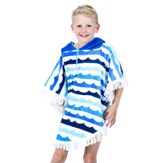 Kids' Round Poncho in Waves With Fringe