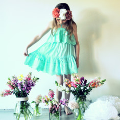 Vintage dress in seafoam