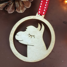 Alpaca Wooden Christmas Decoration (pack of 2)