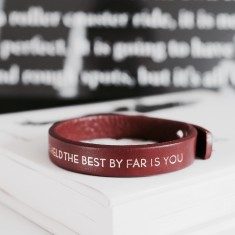 The best by far is you.. inspirational quote leather bracelet