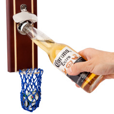 Basketbeer bottle opener with wooden backboard