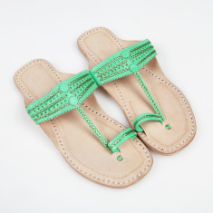 Handmade leather sandals in absinthe green