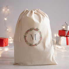 Initial Wreath Personalised Santa Sack