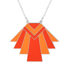 Orange Native Deco Enamel Pendant