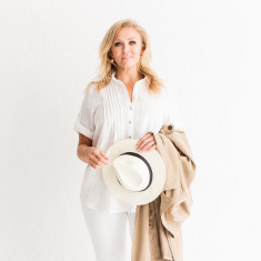 Italian Linen Pintuck Shirt in White