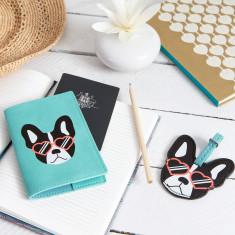 Adorable dog passport holder & luggage tag set