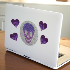 StickerBeans Large Skull and 4 Purple Hearts sticker set
