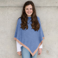 Little chicks poncho in mauve with peach trim