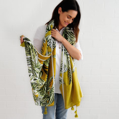 Tassel scarf mustard leaves