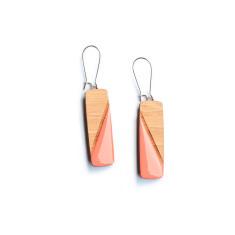 Diagonal pillar bamboo and resin dangly earrings - various colours