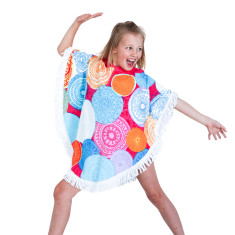 Kids' Round Poncho in Flower Drum With Fringe