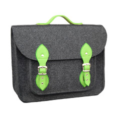 Dark grey & green felt laptop bag