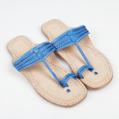 Handmade leather sandals in indigo blue