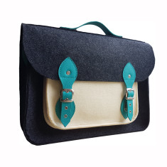 Dark grey felt laptop bag with leather straps