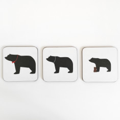 Mummy, daddy & baby bear coasters