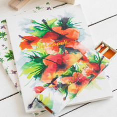 Tropical Hibiscus notebook with gold foil