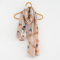 Feather Scarf In Cream