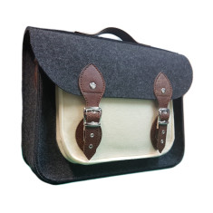 Dark grey with ecru felt satchel bag