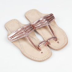Handmade leather sandals in Rose Gold