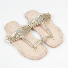 Handmade leather sandals in royal gold
