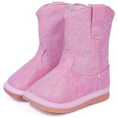 Pink Leather Cowboy Squeaky Boots for Toddlers