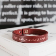 To my darling sister personalised leather bracelet