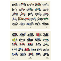 Hand Painted A to Z of Classic Bikes + A to Z of Modern Bikes A2 Prints