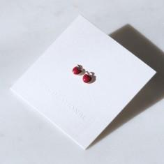 Apple studs red enamel & 18k rose gold vermeil