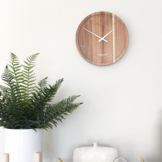 London Clock Company Pure Solid Acacia Wood Wall Clock 25cm