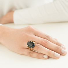Sira black onyx adjustable ring