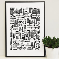 Personalised New York wedding print (Large)