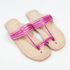 Handmade leather sandals in rani pink