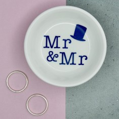 Mr & Mr Wedding or Anniversary Porcelain Ring Dish