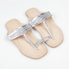 Handmade leather sandals in ancient silver