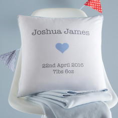 Personalised New Baby Cushion Cover